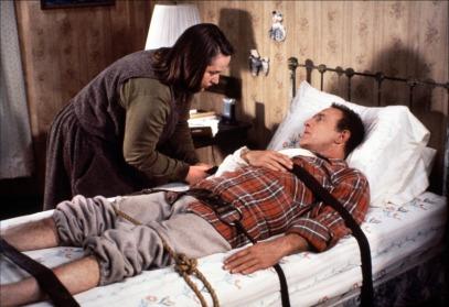 "James Caan and Kathy Bates in ""Misery."""