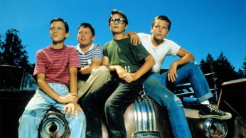 """Young Wil Wheaton, Jerry O'Connell, Corey Feldman, and the late River Phoenix in """"Stand By Me."""""""